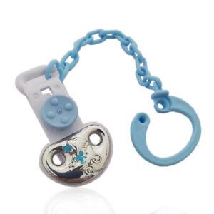 Spilla pinza portaciuccio azzurra, passeggino neonato in argento e smalti
