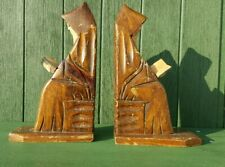Vintage Pair Real Wood Handcrafted Monk Bookends Set