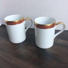 "Vtg Christian Dior Fine China ""Red Monogram"" Coffee Mug Set"