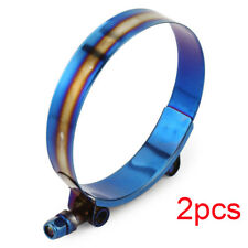 """3.3-36""""Inch 84mm-92mm Stainless Steel T-Bolt Silicone Hose Clamp Titanium Finish"""