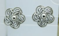 CORO Silver Tone Flower Clip-On Earrings Vintage