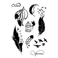 NEW TEMPORARY TATTOO Bird and Feather  KIT Black Jagua Henna 9 Designs tvz*
