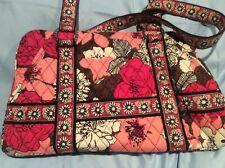Vera Bradley ~ MOCHA ROUGE Purse Handbag Tote ~ 2 Exterior & 4 Interior Pockets