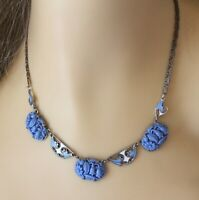 Vintage 1920s Molded Light Blue Floral Celluloid and Enamel Silver Tone Necklace