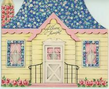VINTAGE HOUSE ROOF CHIMNEY ROSES COTTAGE FRONT DOOR CHEER GREETING CARD PRINT