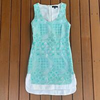 Elliatt Shift Dress Green & White Lace Pattern Sleeveless Lined Party Size XS