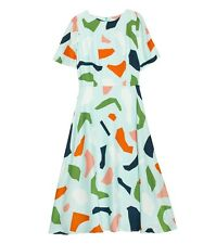 "Stunning GORMAN ""Mint Jigsaw"" silk dress -  size 8"