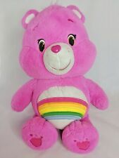 """Care Bear Cheer Bright Pink Plush Large 20"""" Rainbow Heart Shaped Nose"""