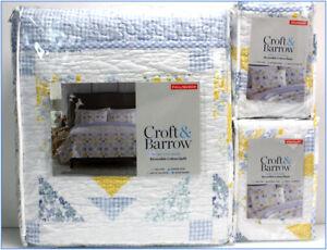 3 pcs - SARAH Reversible QUILT & SHAMS -Cotton HERITAGE Blue & Yellow Full/Queen