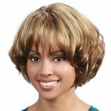 Stunning Women Short Blonde Mixed Brown Fluffy Wavy Cosplay Everyday Full Wigs