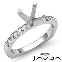 Diamond Engagement European Shank Ring 14k White Gold 0.2Ct Round Semi Mount