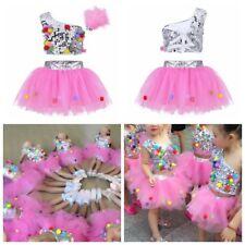 Kid Girls Sequin Jazz Ballet Dance Costume Crop Top+Tutu Skirt Hair Clip Outfit
