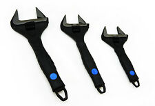 "3pcs Set Cr-V Wide Jaw Adjustable Wrench Spanner Shifter Black Finish 6"" 8"" 10"""