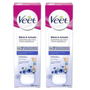 Veet Haarentfernungs-Creme für sensible Haut Enthaarungscreme 2 x 100ml