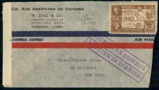 Mayfairstamps Habana 1942 Sud Americana Vapores Censored Vapor Cover wwi_09427