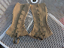 Antique World War I Khaki Canvas Laced Leggings Pr  WWI Doughboy Leg Wear