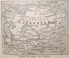 vintage 1930s mini map Turkestan under the Soviets 1934 Kazakstan