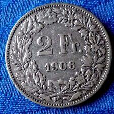 MONNAIE ANCIENNE ** SUISSE ** HELVETIA DEBOUT  EN ARGENT 2F 1906 B