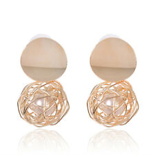 Hollow Fashion Imitation Pearl Jewelry Gold Women Bridal Wedding Drop Earrings