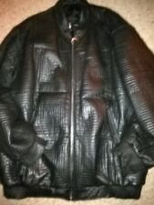 Mens Identification Black Leather Heavy Quilted Jacket w Side Pockets 5Xl