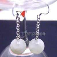 12mm White Round Natural High Quality Moonstone Dangle 2'' Hook earring -ear324