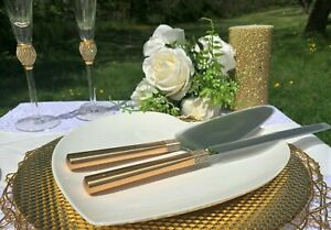 Cake Knife & Server By Waterford Crystal Wedding Gold Jeweled for Bride & Groom