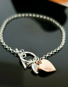 "Ladies 925 Sterling Silver Rose Gold Double Heart T-Bar Chain Bracelet 19cm 7.5"""