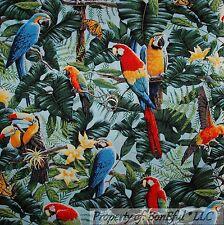 BonEful FABRIC FQ Cotton Quilt Tropical Island Bird Parrot Leaf Flower Butterfly