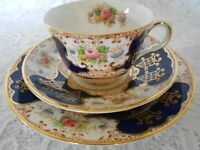 VINTAGE TAYLOR & KENT CHINA TEA SET TRIO COBALT BLUE FLORAL GOLD GILT