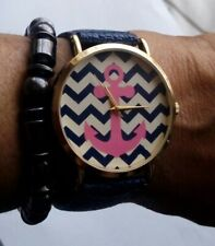 GENEVA PLATINUM NAVY LEATHER BAND ZIGZAG PICK ANCHOR DIAL FACE GOLD STAINLESS
