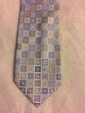 Kenneth Cole Reaction Men's Blue Tan Geometric Pattern 100% Silk Tie
