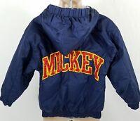 Mickey Mouse Disneyland Jacket Youth XXS Coat Nylon Navy Lined Zip Hoodie Disney