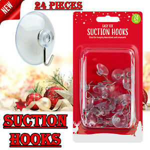 24 x Suction Cups Plastic Hooks For Windows Decorations Wreaths Christmas Lights