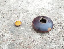 Old Handmade & Lacquer Painted Disc Shape Opium/Snuff Wooden Box