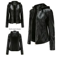 Women Ladies Trench Winter Leather Faux Warm Parka Hooded Coats Jacket Fur Tops