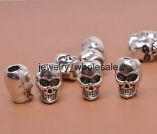 20pcs Tibetan Silver Skull 3mm Hole Beads Fit Charm Bracelet 9X6MM D3204