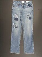 Total Girls Jeans Size 10 Adjustable Waist Straight Leg Embellished Distressed