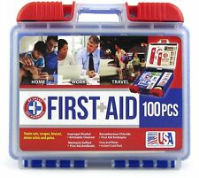 First Aid Kit Box 100 Piece Car Home Medical Emergency Products Wall Mount Case