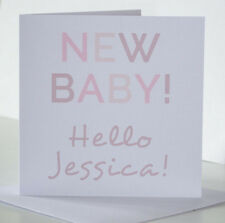 New Baby Girl Card for Newborn. Personalised new baby card for a girl