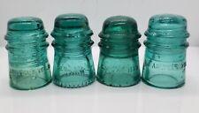 New ListingLot Of Four Cd 121 Glass Toll Insulators: 2 A.M. Tel, Brookfield, Mint Hemingray