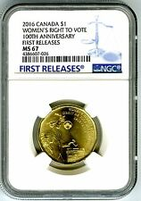 2016 CANADA $1 NGC MS67 WOMENS RIGHT TO VOTE LOON LOONIE DOLLAR FIRST RELEASES