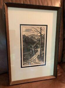 LEO MEISSNER WOOD ENGRAVING SIGNED 1955 MOUNTAIN HOME NORTH CAROLINA APPALACHIA