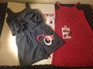 Vtg Gymboree Polkadot & Ladybug romper dress bracelets ring hair jewelry EUC 7 8