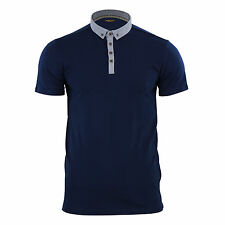Mens Polo T Shirt Brave Soul Chimera Chambray Collared Cotton Casual Top Dark Navy Large