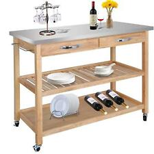 Stainless Top Wood Big-Size Kitchen Island Cart Drawer Cookware Storage