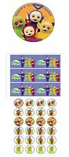 """PARTY PACK - TELETUBBIES  PERSONALIZED 7.5"""" CIRCLE ICING CAKE TOPPER"""