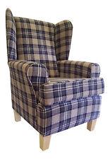 Wing Back/Fireside Chair in Lana Charcoal Tartan Fabric
