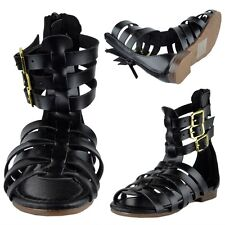 Girls Open Toe Gladiator Sandals w/ Strappy Buckle Accent Black Size 9-4