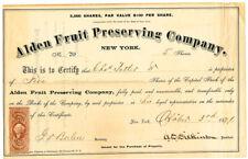 US 1871 Stock Certificate Alden Fruit Preserving Co 5 Shares