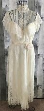 VTG 1960s Lace Sequin Wedding Bridal Gown Dress Ivory Ruffled Edwardian Small